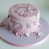 Blossom and bunting 21st birthday cake