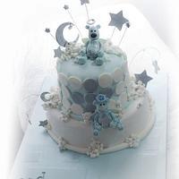 Blue Baptism themed cake