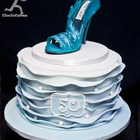 Sugarpaste Blue Stiletto with Ombre Blue Wave ruffles