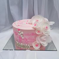 Gentle pink Christening cake