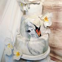 Swan hand painted cake