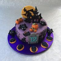 Halloween birthday cake and cupcakes