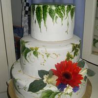 3 tier hand painted with fresh flowers