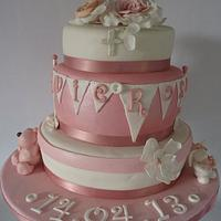Christening cake for Evie Rose.