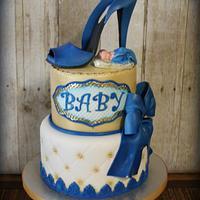 Glam baby shower cake