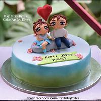 Couple in love birthday cake