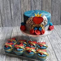 Tattoo cake and cupcakes