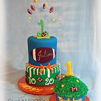 Football theme 1st birthday cake and smash cake