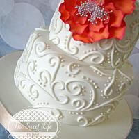 Sweet & Elegant Wedding Scroll Cake