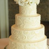 Buttercream Freehand Piping Wedding Cake