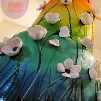 Colourful painted wedding cake