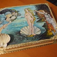 Birth of Venus Handpainted cake