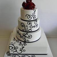 Black White with a splash of Red Roses