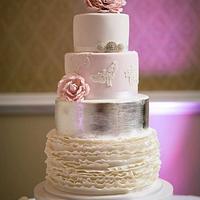 wedding ruffles and silver leafing