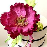 Fuschia themed Wedding Cake with Peonies sugarflower by Joonie Tan