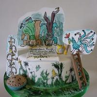 Handpainted Roald Dahl.. The Twits cake