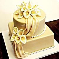 50th Anniversary Calla Lily cake