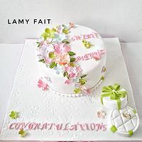 White floral ring cake