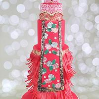 Modern Chinese Bride Wedding cake