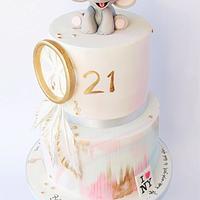 Baby elephant boho cake