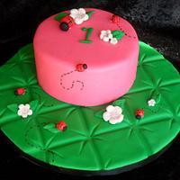 Ladybug First Birthday Cake and  Smash Cake