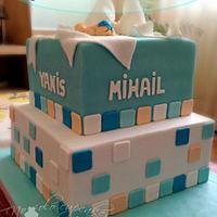 Skuared fondant baptism cake for Yanis