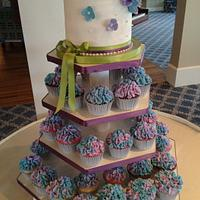 Hydrangea Bridal Shower Cupcake Tower