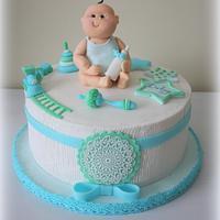 Baby blue, aqua cake