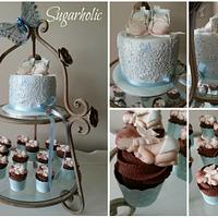 Vintage Baby lace Cake & Cupcakes