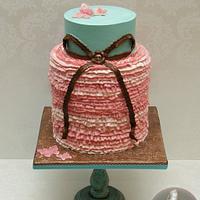 Pink Ruffled Bridal Shower Cake