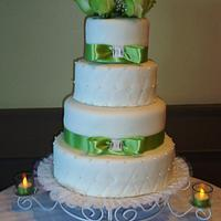 4 tier Wedding cake,first time to make quilted fondant