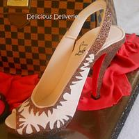 LV Damier Ebene Purse Cake with Christian Louboutin Shoe