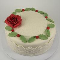 Sugarpaste rose & lace, Christmas 2014