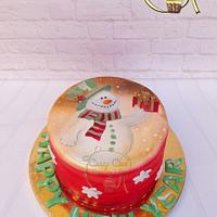 Snow man Painted cake