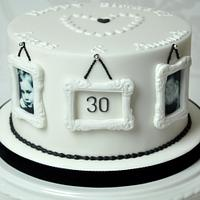 Monochrome photo frame 30th birthday cake