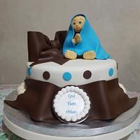 Baby Boy Christening Cake and Cupcakes