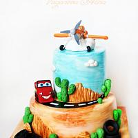 Cars and Planes cake