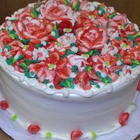 Red and white buttercream flower cake