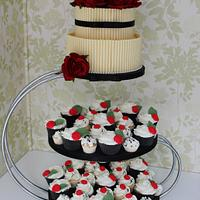 Black and red rose cigarrello wedding cake tower