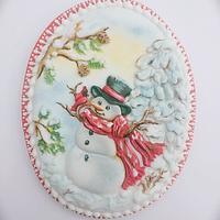 Christmas Snowman with a bird