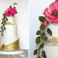 Gold & hot pink wedding cake