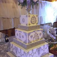 Square Tiered Bling Cake