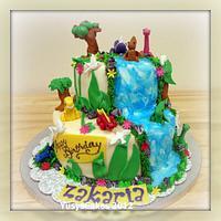 Jungle and Dinosaur Cake for Zakaria by Yusy Sriwindawati