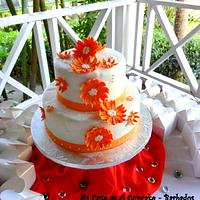 Orange Daisy Wedding  Cake