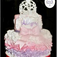 My Princess - Tiara Cake with wafer paper ruffles