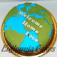 Welcome Home Globe Cake