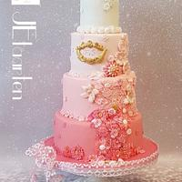 Pink weddingcake