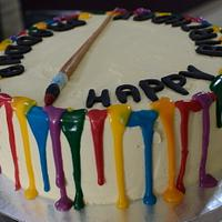 Drippy cake with color palette