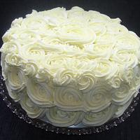 White chocolate buttercream roses.
