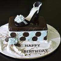 shoe box cake by designed by mani